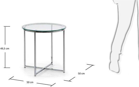 Bijzettafel Glas En Metaal.Laforma Bijzettafel Divid Metaal En Glas Transp Glas 50x49 5 Cm La